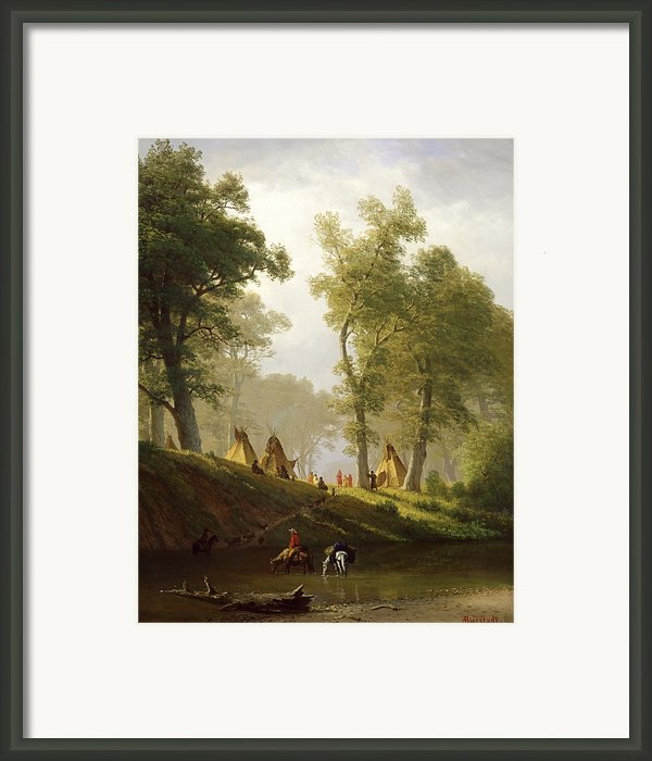 The Wolf River - Kansas Framed Print By Albert Bierstadt