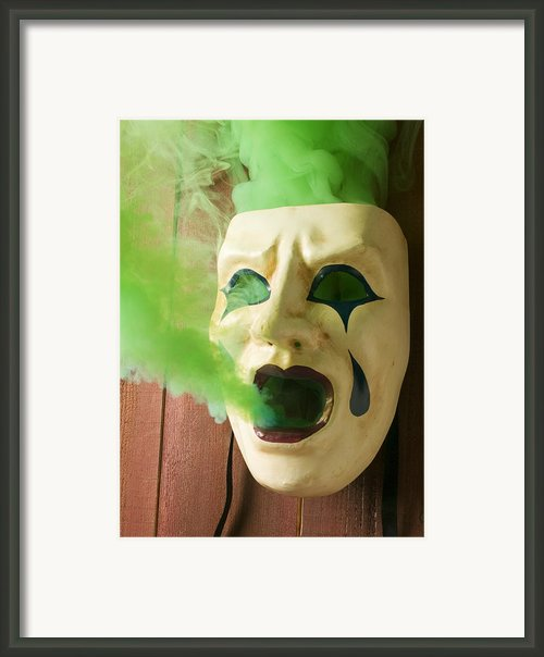 Theater Mask Spewing Green Smoke Framed Print By Garry Gay