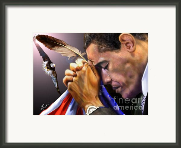 They Shall Mount Up With Wings Like Eagles -  President Obama  Framed Print By Reggie Duffie