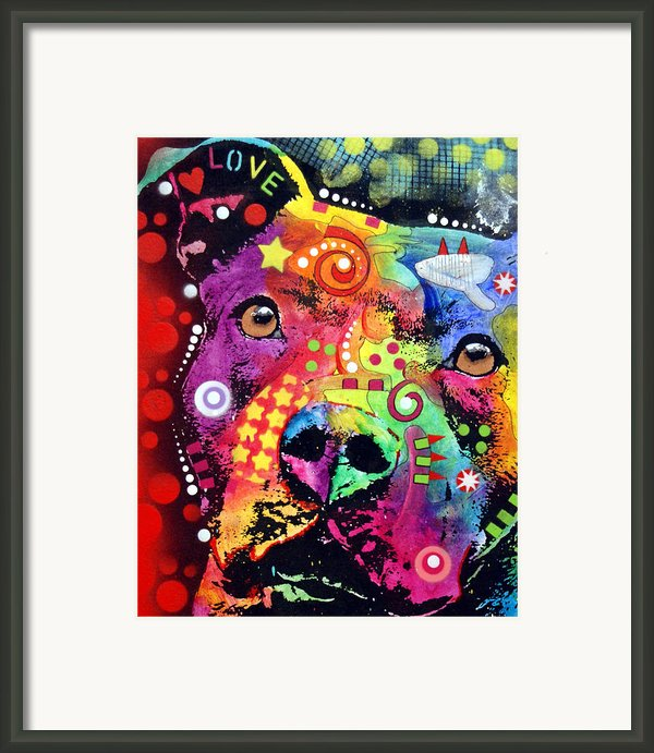 Thoughtful Pitbull Love Framed Print By Dean Russo