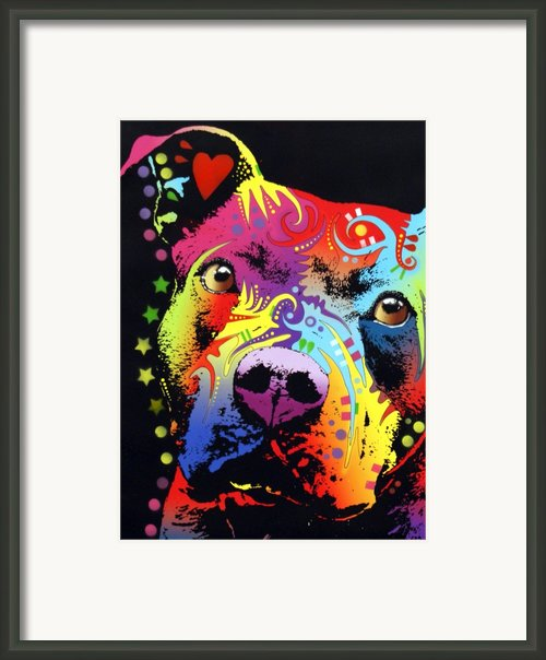 Thoughtful Pitbull Warrior Heart Framed Print By Dean Russo