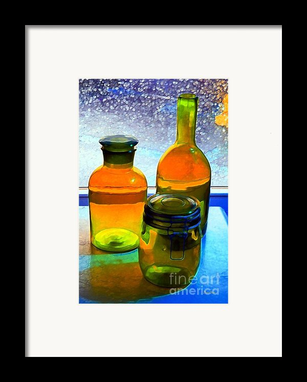 Three Bottles In Window Framed Print By Dale   Ford