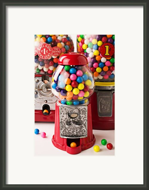 Three Bubble Gum Machines Framed Print By Garry Gay