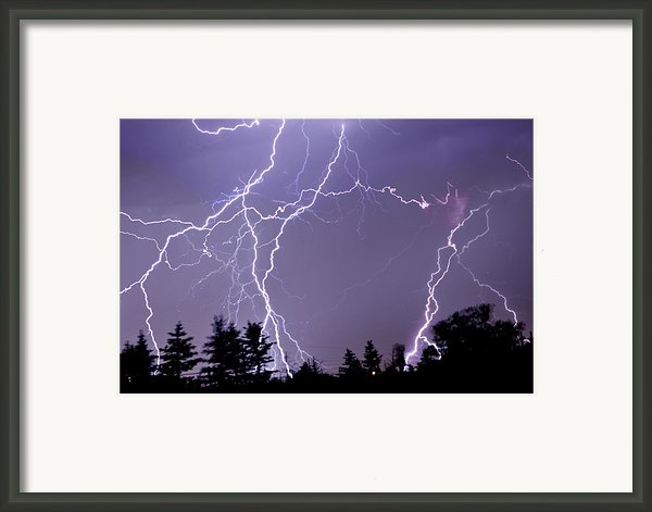 Three Frames Of Lightning Hitting Cedar Hills Area Framed Print By Utah-based Photographer Ryan Houston