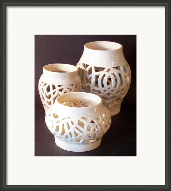 Three Interlaced Design Wheel Thrown Pots Framed Print By Carolyn Coffey Wallace