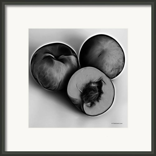 Three Peaches - Greyscale Framed Print By James Ahn