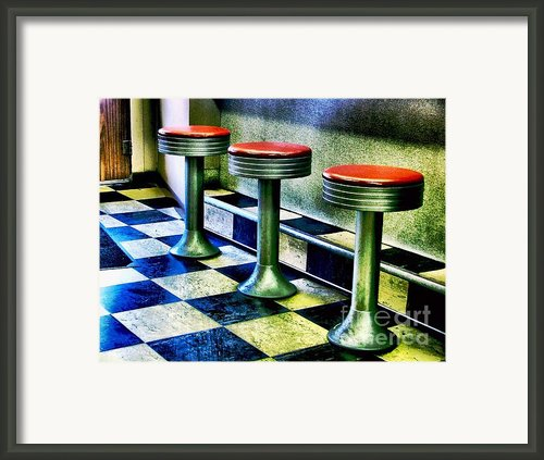 Three White Steamer Stools Framed Print By Julie Dant