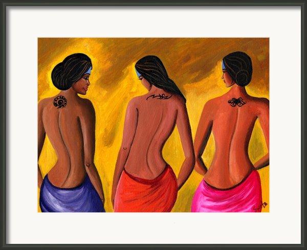 Three Women With Tattoos Framed Print By Sweta Prasad
