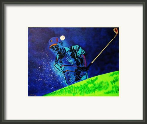 Tiger Woods-playing In The Sandbox Framed Print By Bill Manson