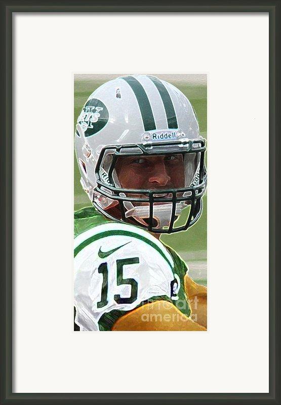 Tim Tebow Art Deco - New York Jets -  Framed Print By Lee Dos Santos