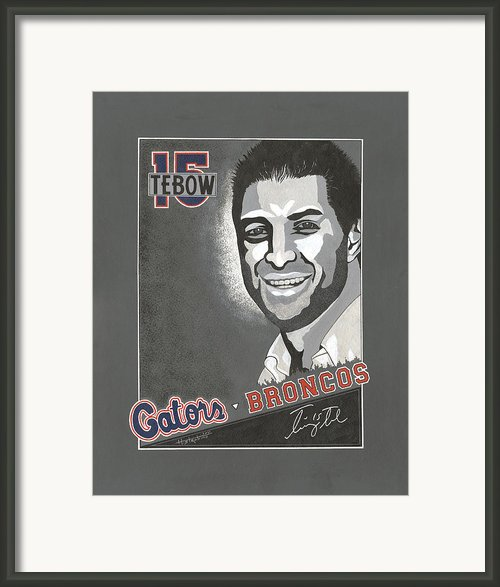 Tim Tebow Portrait Framed Print By Herb Strobino