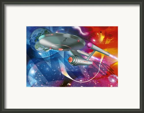 Time Travelling Spacecraft, Artwork Framed Print By Detlev Van Ravenswaay
