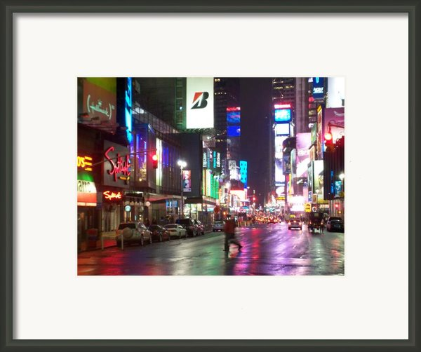 Times Square In The Rain 2 Framed Print By Anita Burgermeister