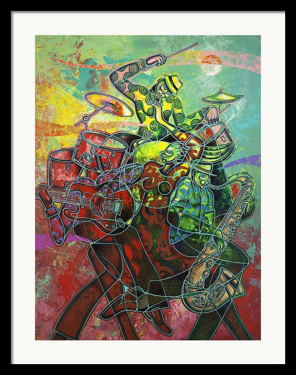 To The Beat On 2nd Street Framed Print By Larry Poncho Brown