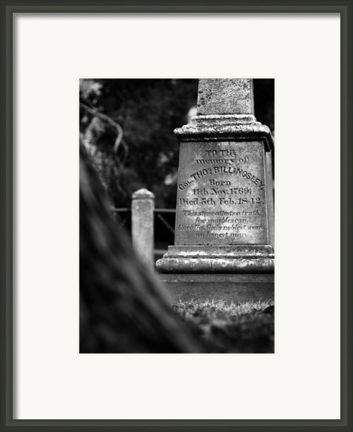 To The Memory Of Colonel Billingsley Framed Print By Rebecca Sherman