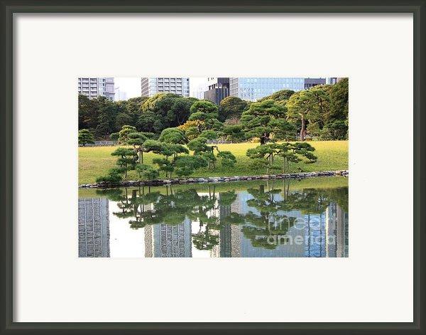 Tokyo Trees Reflection Framed Print By Carol Groenen