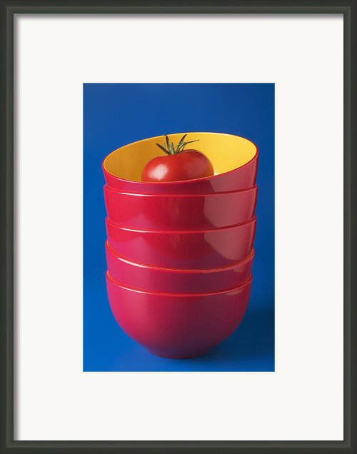 Tomato In Stacked Bowls Framed Print By Garry Gay