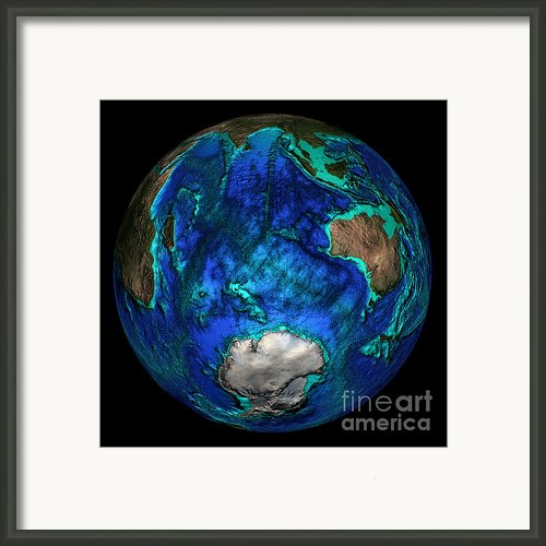 Topographical Map Of Coordinates 45 S Framed Print By Science Source