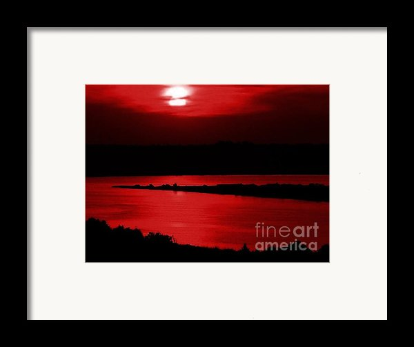 Topsail Island Blood-red Sunset Framed Print By Julie Dant