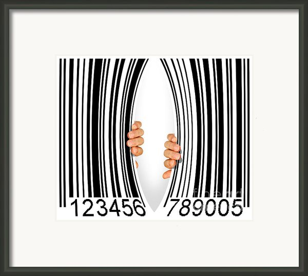 Torn Bar Code Framed Print By Carlos Caetano