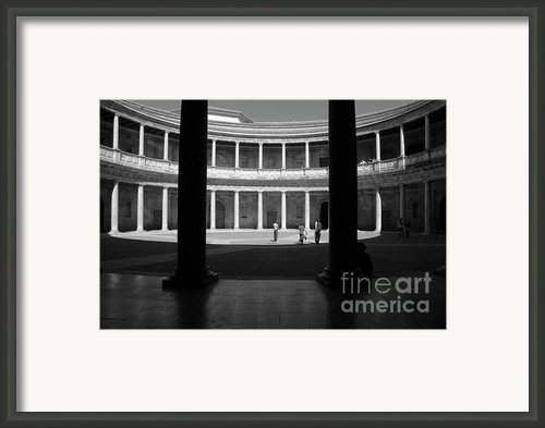 Tourists Inside A Courtyard At The Palace Of Charles V At Alhambra Framed Print By Sami Sarkis