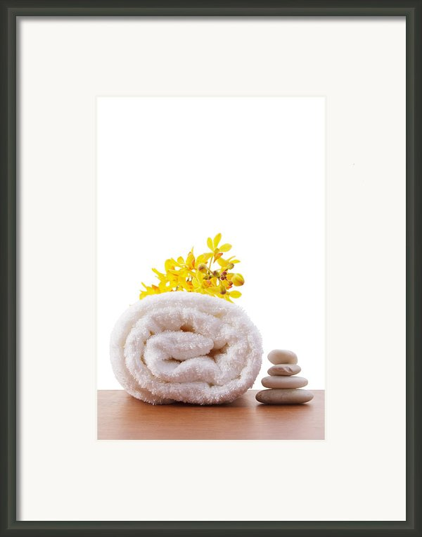 Towel Roll Framed Print By Atiketta Sangasaeng