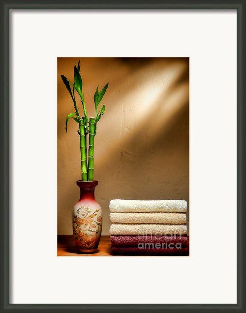 Towels And Bamboo Framed Print By Olivier Le Queinec