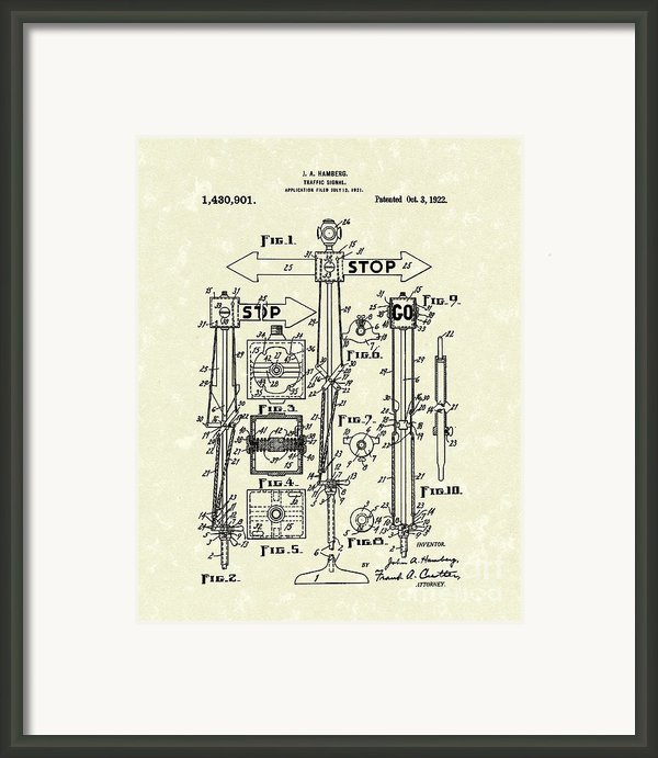 Traffic Signal 1922 Patent Art Framed Print By Prior Art Design