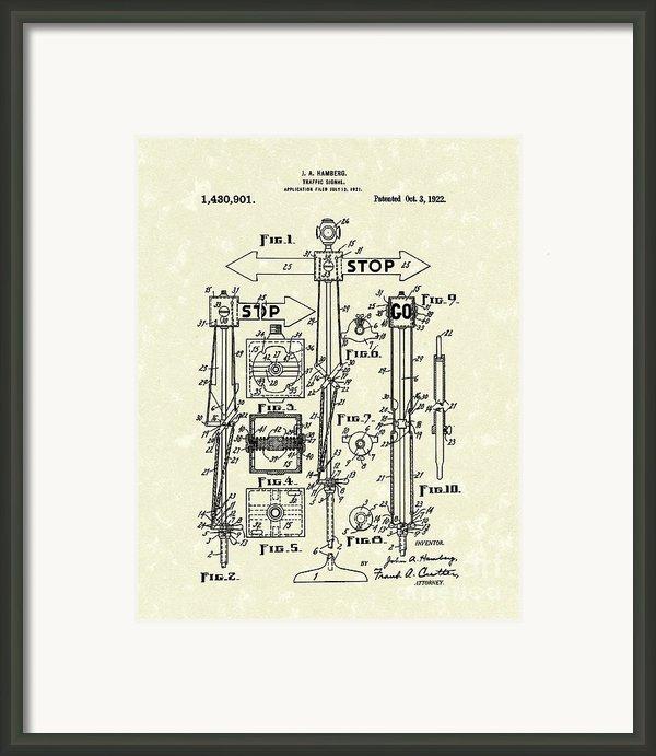 Traffic Signal 1922 Patent Art Framed Print By Prior Art Design