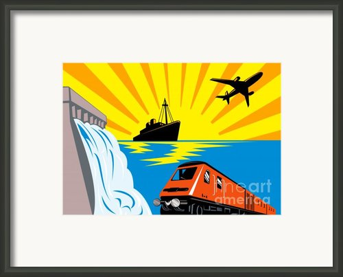 Train Boat Plane And Dam Framed Print By Aloysius Patrimonio