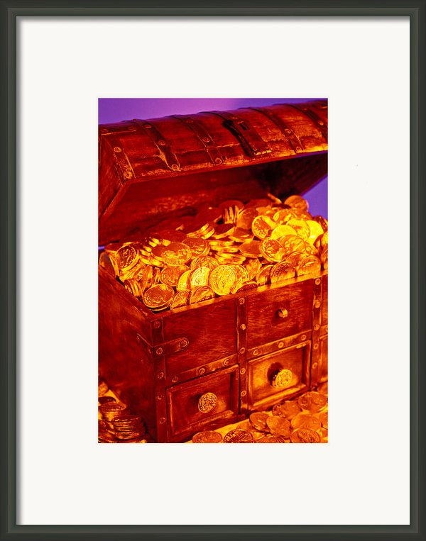 Treasure Chest With Gold Coins Framed Print By Garry Gay