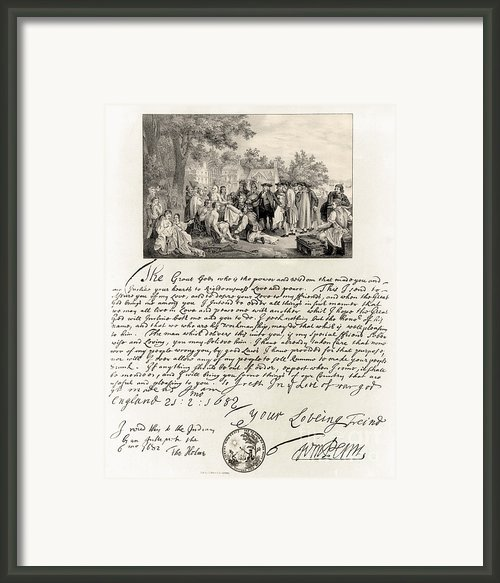 Treaty Between William Penn Framed Print By Photo Researchers