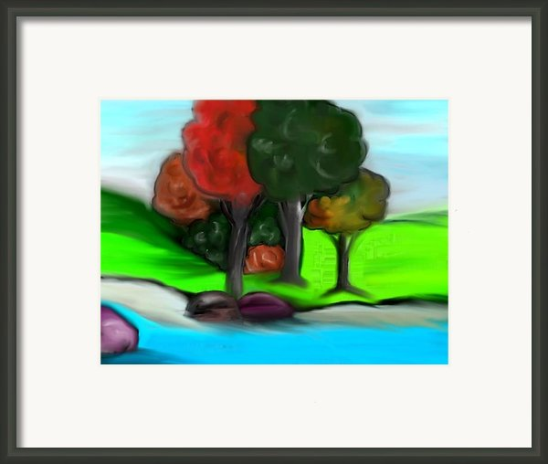 Trees On River Framed Print By Paula Brown