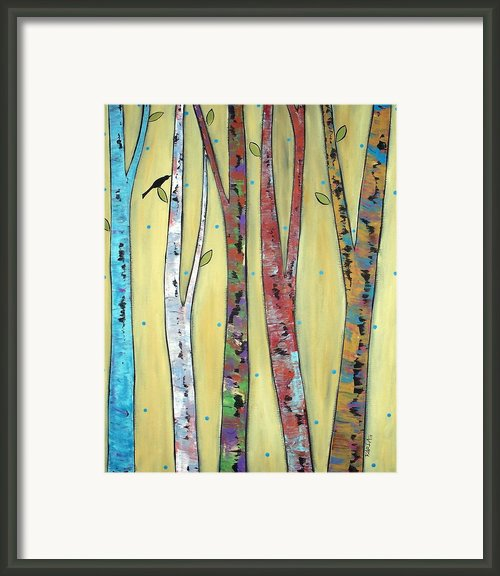 Trees On Yellow Framed Print By Karla Gerard