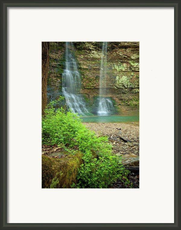 Tripple Falls In Springtime Framed Print By Iris Greenwell