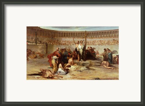 Triumph Of Faith    Christian Martyrs In The Time Of Nero Framed Print By Eugene Romain Thirion