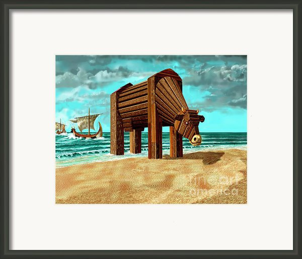 Trojan Cow Framed Print By Russell Kightley