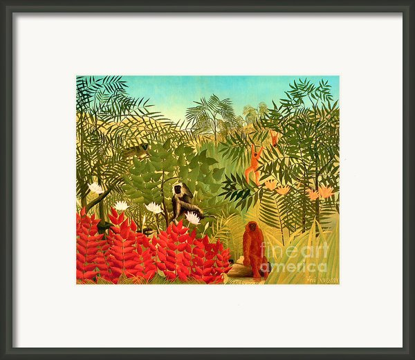 Tropical Jungle By Henri Rousseau Framed Print By Pg Reproductions