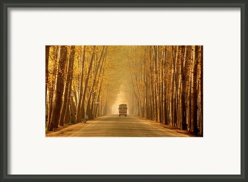 Truck In Golden Tunnel Framed Print By Pkg Photography
