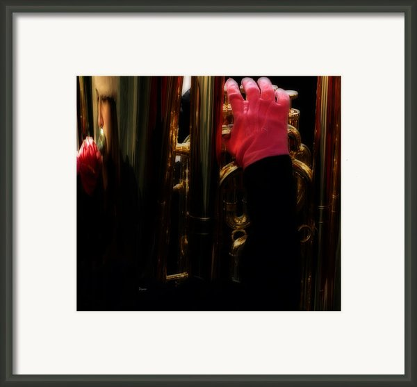 Tuba With Pink Framed Print By Steven  Digman