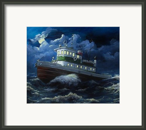 Tug Boat On Rough Water Framed Print By Virginia Sonntag