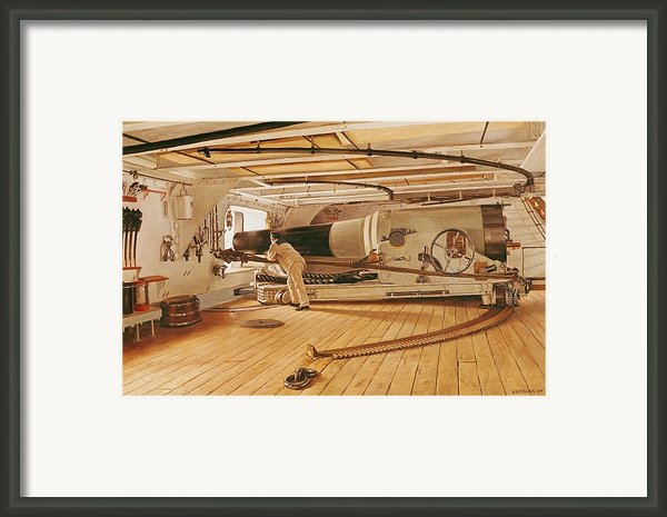 Twenty-seven Pound Cannon On A Battleship Framed Print By Gustave Bourgain