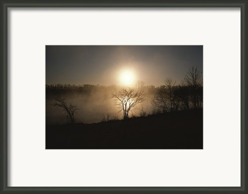 Twilight View Of Fog Over The Tennessee Framed Print By Sam Abell