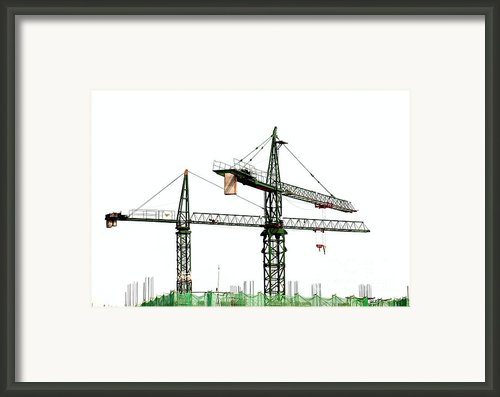 Two Cranes On A Construction Site Framed Print By Yali Shi