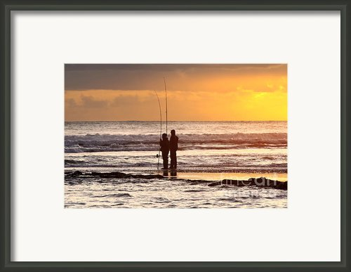Two Fisherman Framed Print By Carlos Caetano