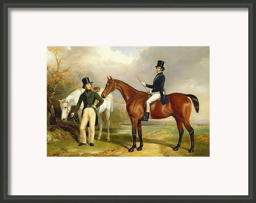 Two Gentlemen Out Hunting  Framed Print By Henry Barraud