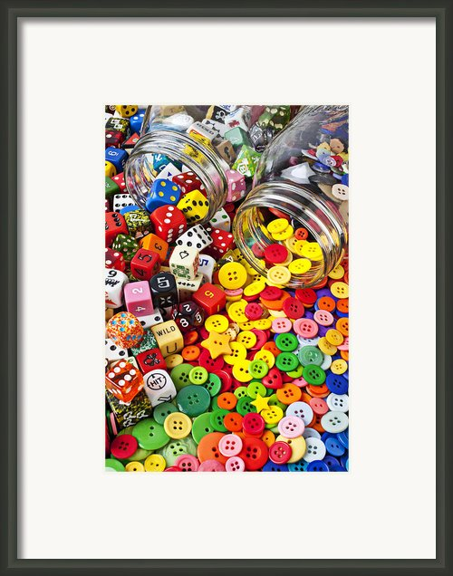 Two Jars Dice And Buttons Framed Print By Garry Gay