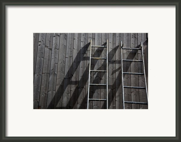 Two Ladders Leaning Against A Wooden Wall Framed Print By Meera Lee Sethi