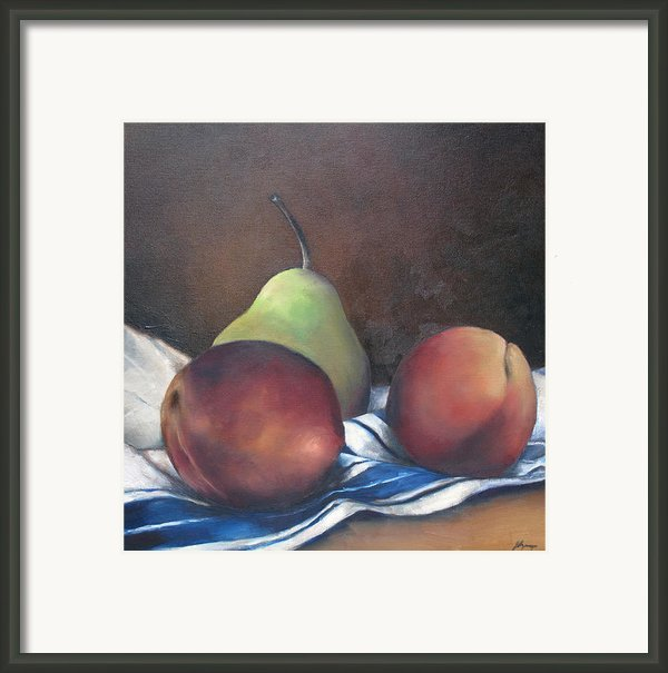 Two Peaches And A Pear Framed Print By Julie Dalton Gourgues
