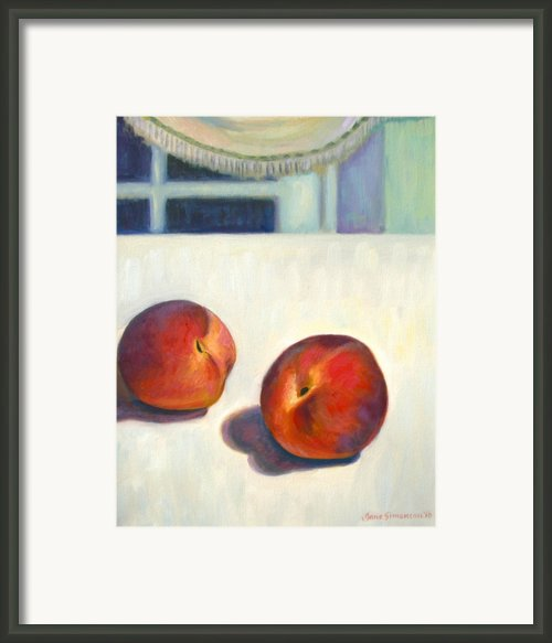 Two Peaches At Night Framed Print By Jane  Simonson